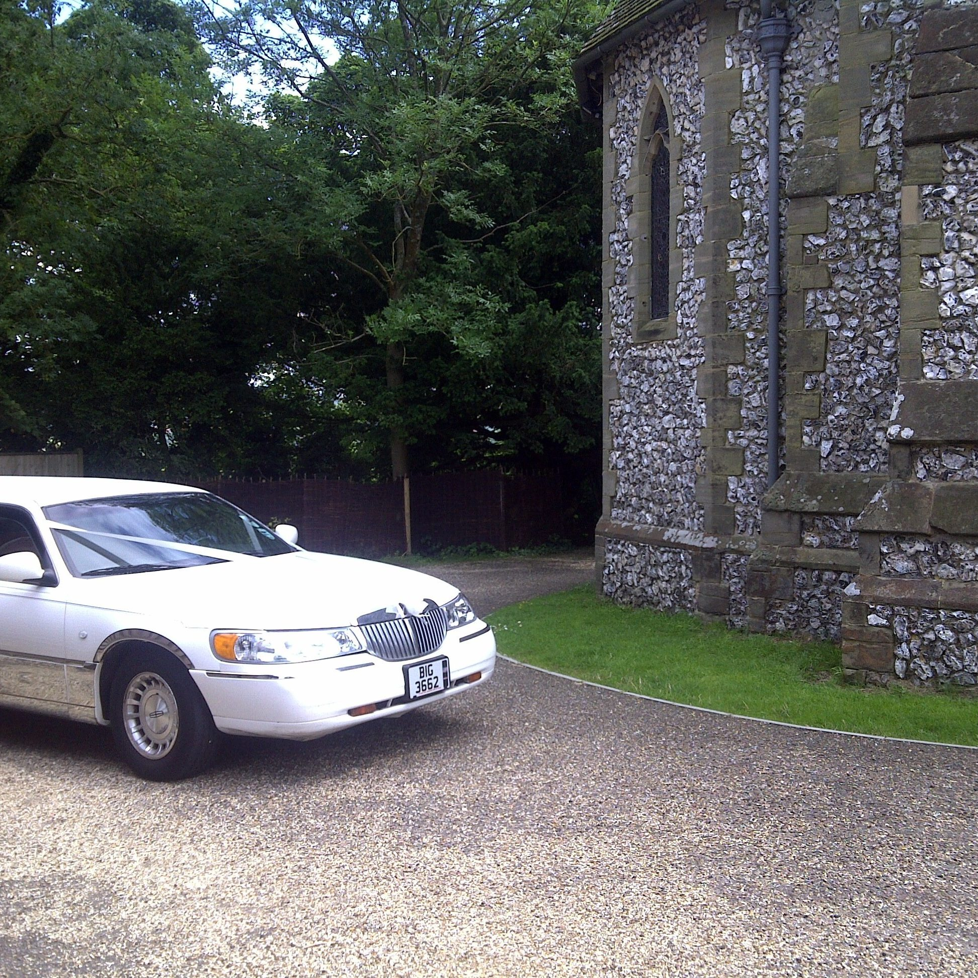 White Limo At Church